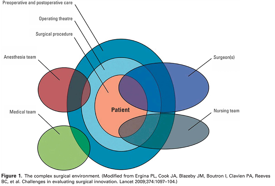 Figure 1. The complex surgical environment. (Modified from Ergina PL, Cook JA, Blazeby JM, Boutron I, Clavien PA, Reeves BC, et al. Challenges in evaluating surgical innovation. Lancet 2009;374:1097–104.)