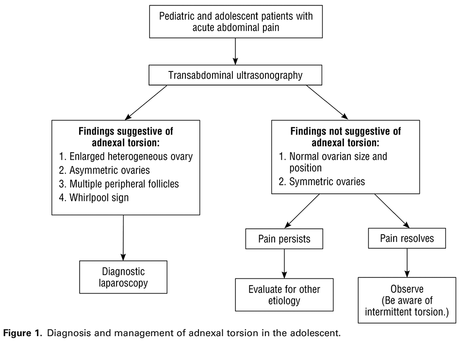 Figure 1. Diagnosis and management of adnexal torsion in the adolescent.