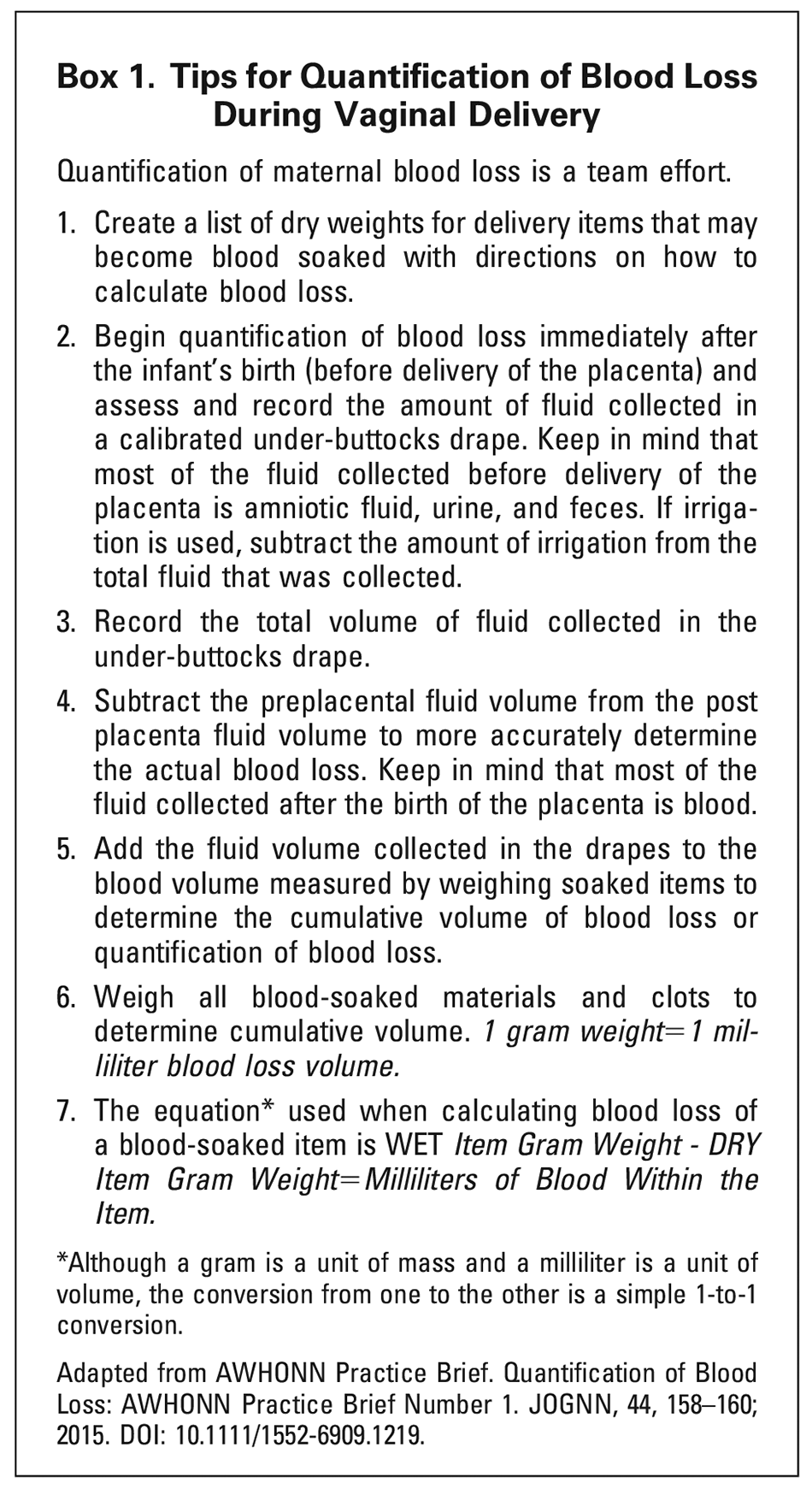 Quantitative Blood Loss in Obstetric Hemorrhage