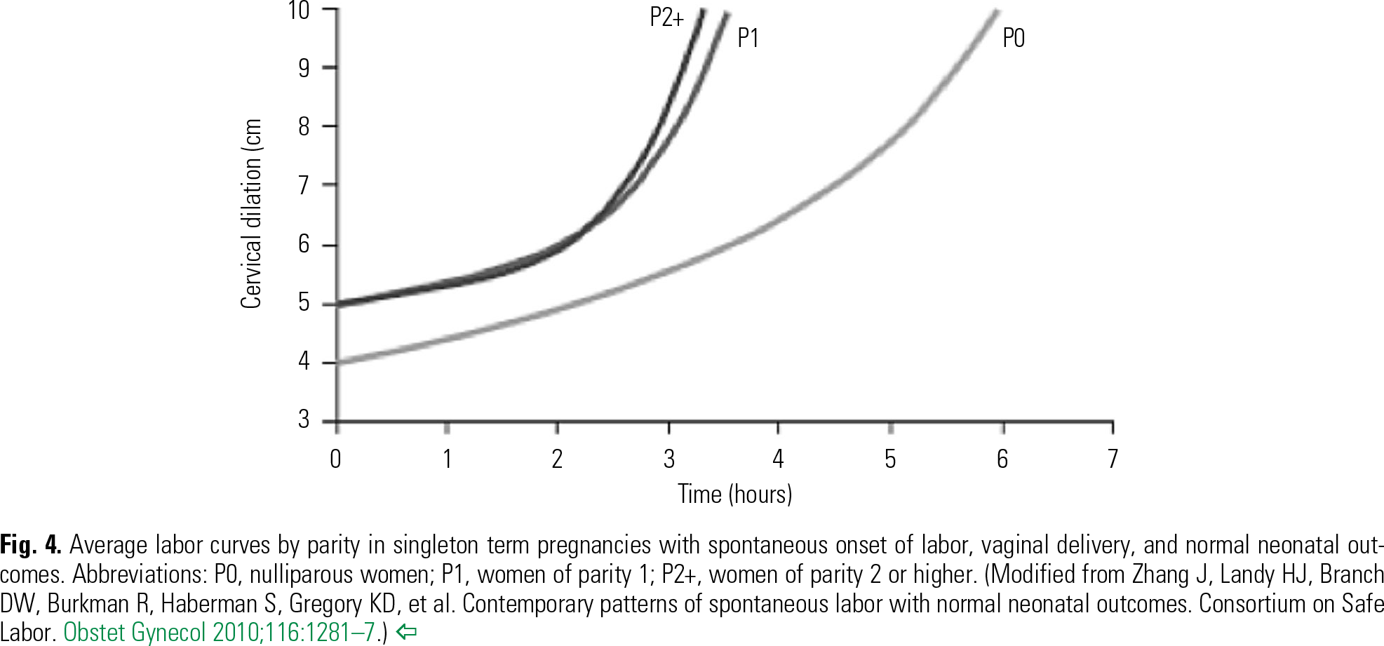 Fig. 4 Average labor curves by parity in singleton term pregnancies with spontaneous onset of labor, vaginal delivery, and normal neonatal outcomes. Abbreviations: P0, nulliparous women; P1, women of parity 1; P2+, women of parity 2 or higher. (Modified from Zhang J, Landy HJ, Branch DW, Burkman R, Haberman S, Gregory KD, et al. Contemporary patterns of spontaneous labor with normal neonatal outcomes. Consortium on Safe Labor. Obstet Gynecol 2010;116:1281–7.)