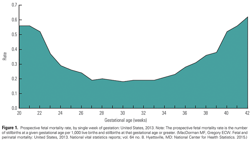 Figure 1. Prospective fetal mortality rate, by single week of gestation: United States, 2013. Note: The prospective fetal mortality rate is the number of stillbirths at a given gestational age per 1,000 live births and stillbirths at that gestational age or greater. (MacDorman MF, Gregory ECW. Fetal and perinatal mortality: United States, 2013. National vital statistics reports; vol. 64 no. 8. Hyattsville, MD: National Center for Health Statistics. 2015.)