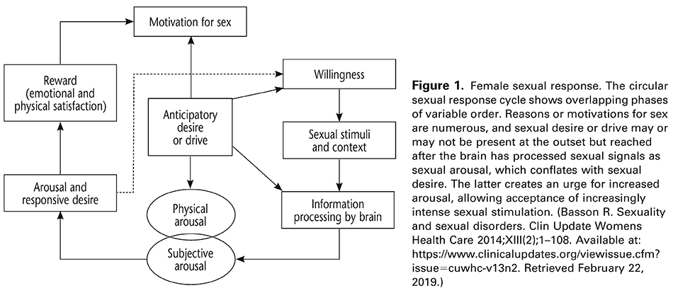 Figure 1. Female sexual response. The circular sexual response cycle shows overlapping phases of variable order. Reasons or motivations for sex are numerous, and sexual desire or drive may or may not be present at the outset but reached after the brain has processed sexual signals as sexual arousal, which conflates with sexual desire. The latter creates an urge for increased arousal, allowing acceptance of increasingly intense sexual stimulation. (Basson R. Sexuality and sexual disorders. Clin Update Womens Health Care 2014;XIII(2);1–108. Available at: https://www.clinicalupdates.org/viewissue.cfm?issue=cuwhc-v13n2 . Retrieved February 22, 2019.)