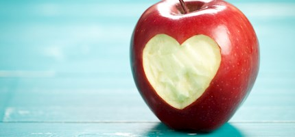 Heart carved out of an apple.