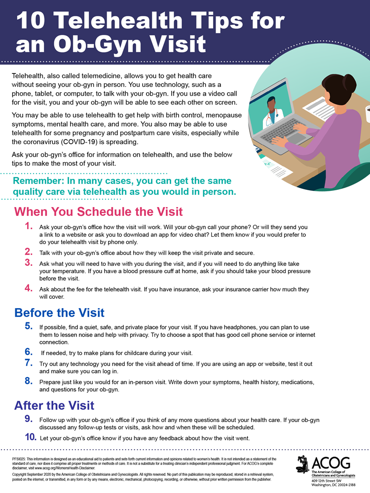 10 Telehealth Tips for an Ob-Gyn Visit infographic.