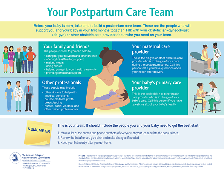 Your postpartum care team infographic.